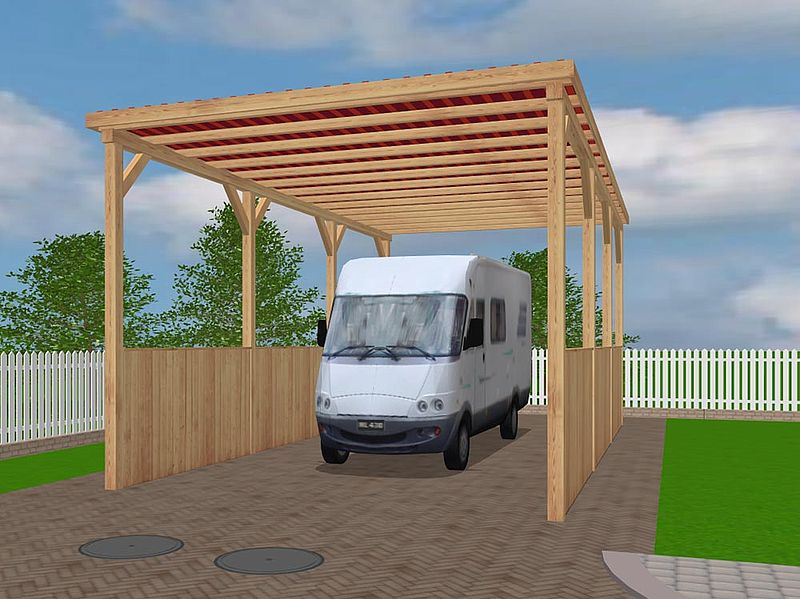 carports aus l rchenholz f r wohnmobile skandwood gardening. Black Bedroom Furniture Sets. Home Design Ideas